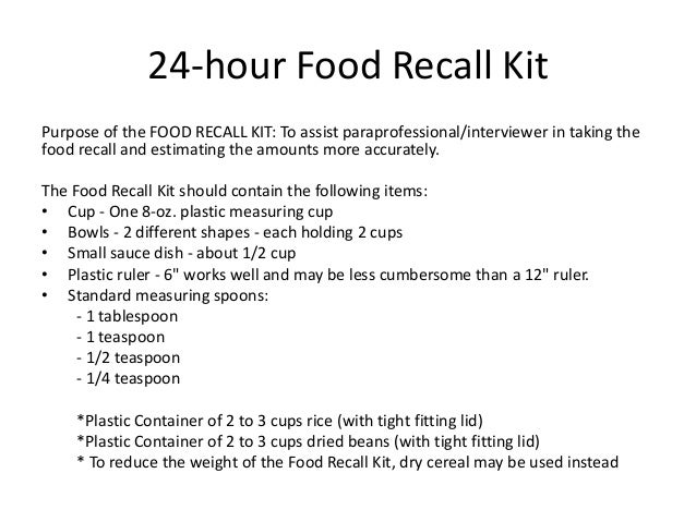 24 hour diet recall summary Efficiency of the 24-hour food recall instrument for assessing nutrient intake before and after  ding diet, exercise, and drug treatments are relatively poor in patients with  summary of changes in micronutrient intake before versus three .