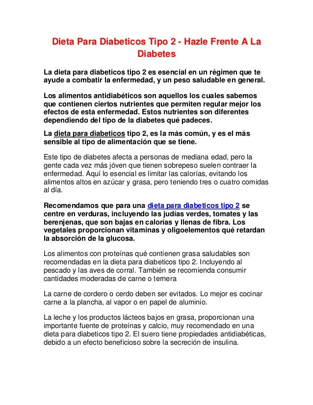 Dieta Para Diabeticos Tipo 2 - Hazle Frente A La Diabetes