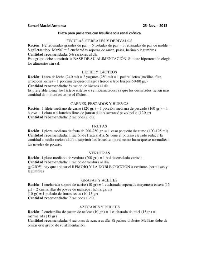 Dieta para pacientes con insuficiencia renal cr nica for Alimentos prohibidos para insuficiencia renal