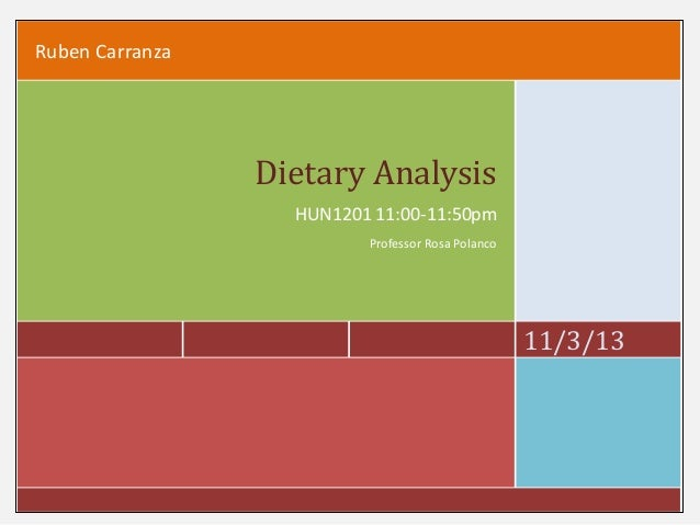Ruben Carranza  Dietary Analysis HUN1201 11:00-11:50pm Professor Rosa Polanco  11/3/13