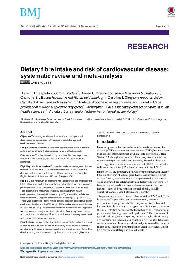 BMJ 2013;347:f6879 doi: 10.1136/bmj.f6879 (Published 19 December 2013)  Page 1 of 12  Research  RESEARCH Dietary fibre int...