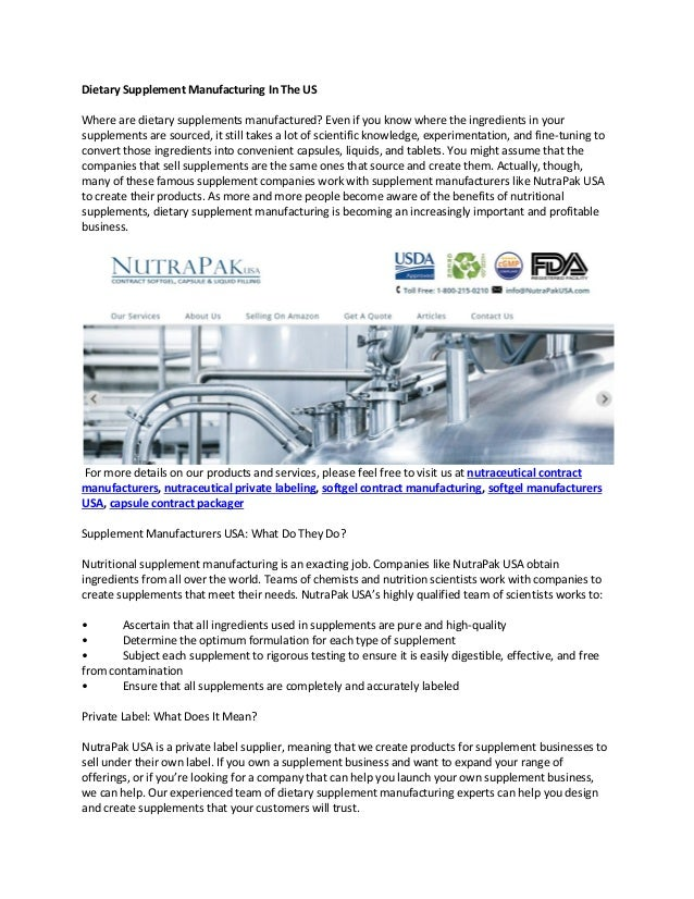 Dietary supplement manufacturing in the us