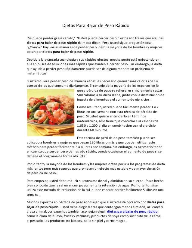 Dietas para bajar de peso en ingles