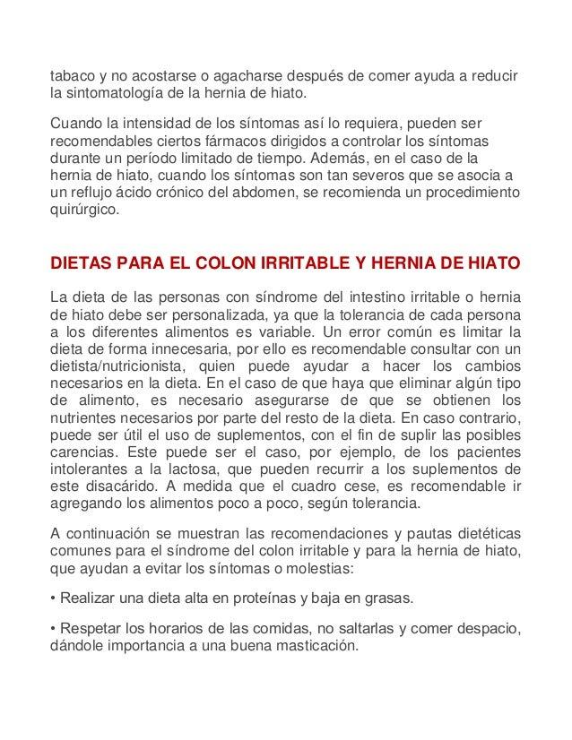 Dietas para el colon irritable y hernia de hiato - Alimentos prohibidos para la hernia de hiato ...