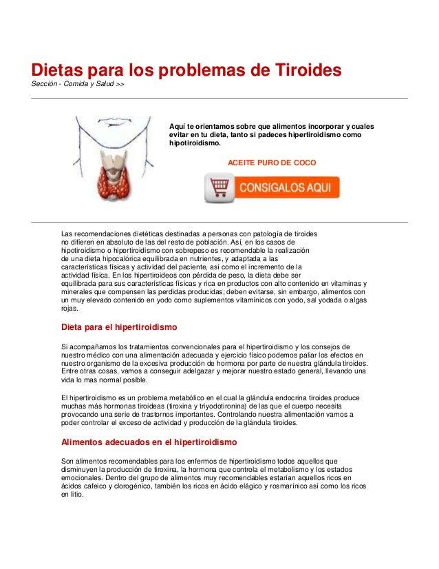 Dietas para los problemas de Tiroides Sección - Comida y Salud >>  -  Aquí te orientamos sobre que alimentos incorporar y ...
