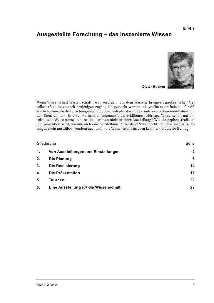 E 14.7 Ausgestellte Forschung – das inszenierte Wissen                                                                    ...
