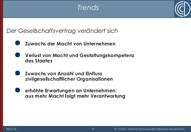 29.01.15 10 © CCCD – Centrum für Corporate Citizenship Deutschland Trends Der Gesellschaftsvertrag verändert sich  Zuwach...