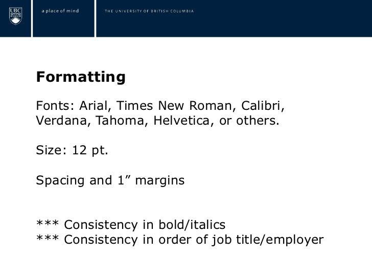 Resume Italics Job Title