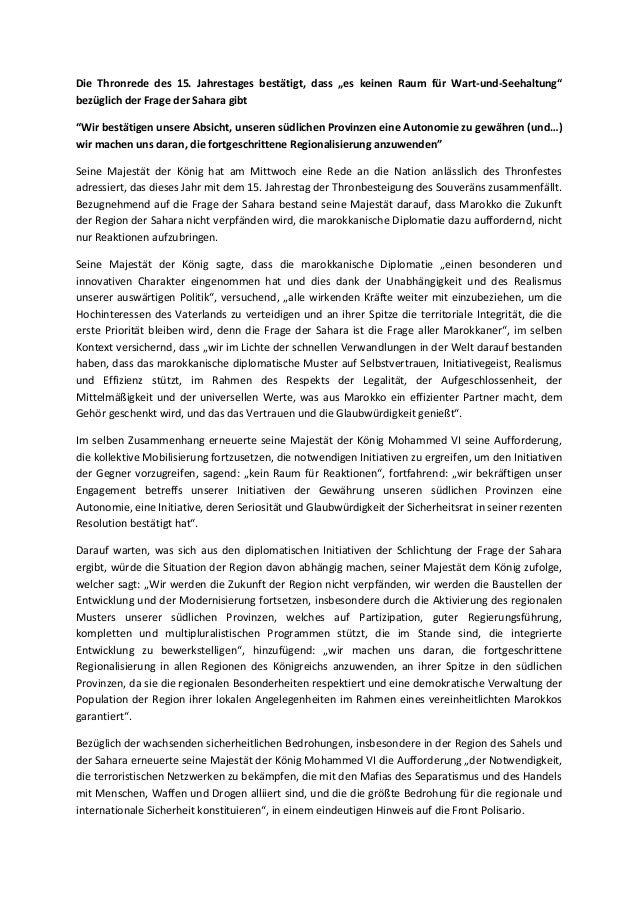 """Die Thronrede des 15. Jahrestages bestätigt, dass """"es keinen Raum für Wart-und-Seehaltung"""" bezüglich der Frage der Sahara ..."""