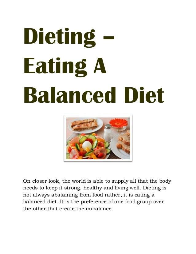 Eating A Balanced Diet