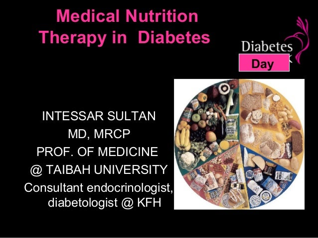 Medical Nutrition  Therapy in Diabetes                              Day  INTESSAR SULTAN       MD, MRCP PROF. OF MEDICINE ...