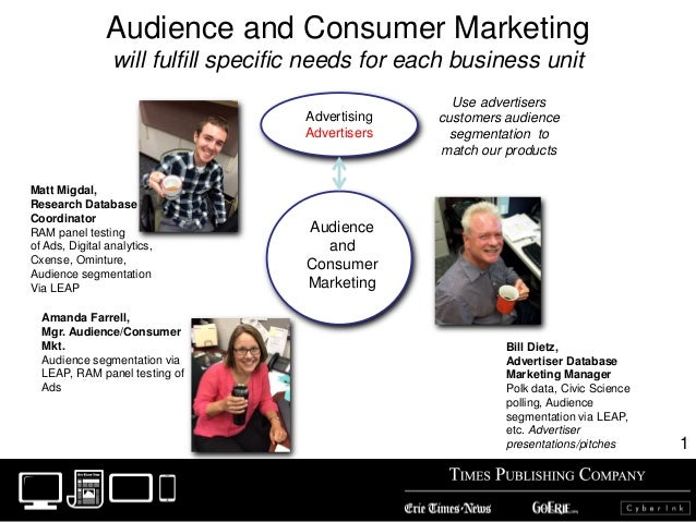 Audience and Consumer Marketing will fulfill specific needs for each business unit Audience and Consumer Marketing Adverti...