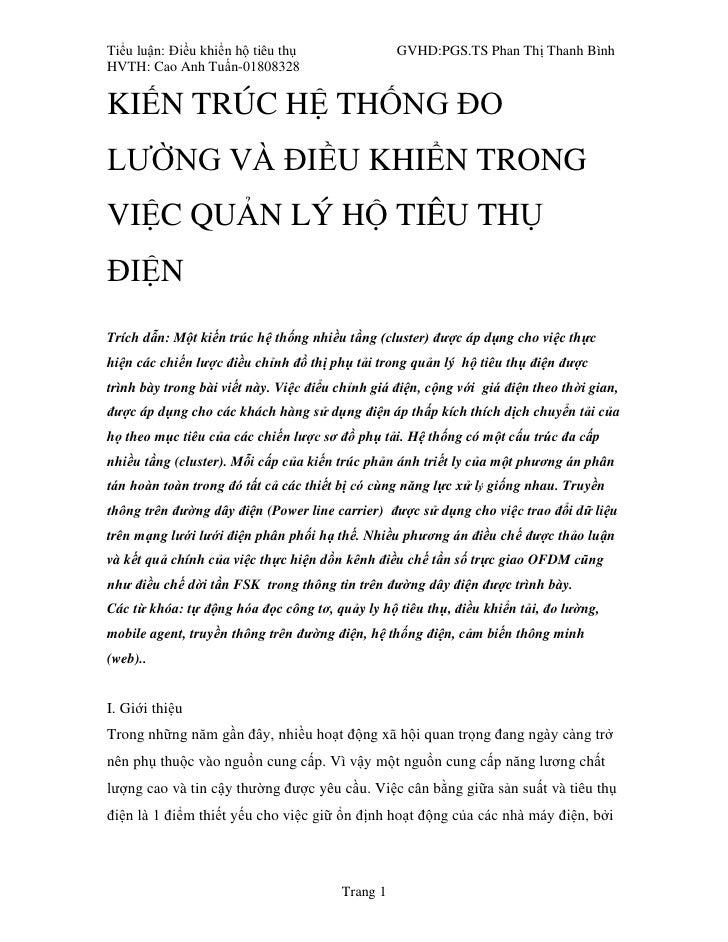 Tiểu luận: Điều khiển hộ tiêu thụ                 GVHD:PGS.TS Phan Thị Thanh Bình HVTH: Cao Anh Tuấn-01808328   KIẾN TRÚC ...