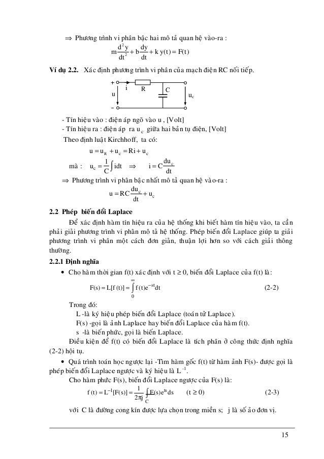 15 ⇒ Phöông trình vi phaân baäc hai moâ taû quan heä vaøo-ra : 2 2 d y dy m b k y(t) F(t) dtdt + + = Ví duï 2.2. Xaùc ñònh...