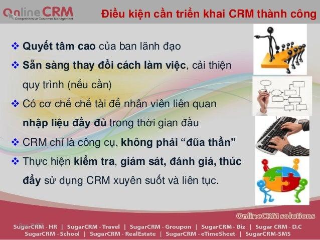 Điều kiện cần triển khai CRM thành công Quyết tâm cao của ban lãnh đạo Sẵn sàng thay đổi cách làm việc, cải thiện  quy t...