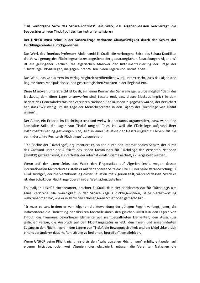 """""""Die verborgene Seite des Sahara-Konflikts"""", ein Werk, das Algerien dessen beschuldigt, die Sequestrierten von Tinduf poli..."""