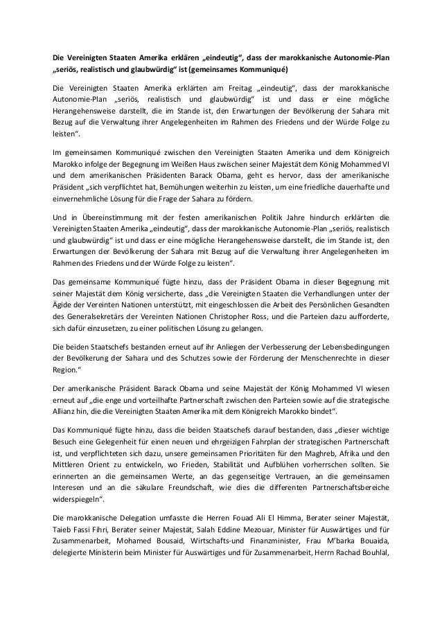 """Die Vereinigten Staaten Amerika erklären """"eindeutig"""", dass der marokkanische Autonomie-Plan """"seriös, realistisch und glaub..."""