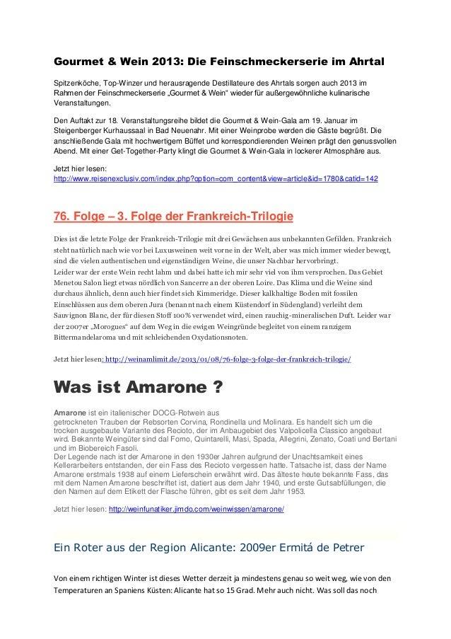 Gourmet & Wein 2013: Die Feinschmeckerserie im AhrtalSpitzenköche, Top-Winzer und herausragende Destillateure des Ahrtals ...