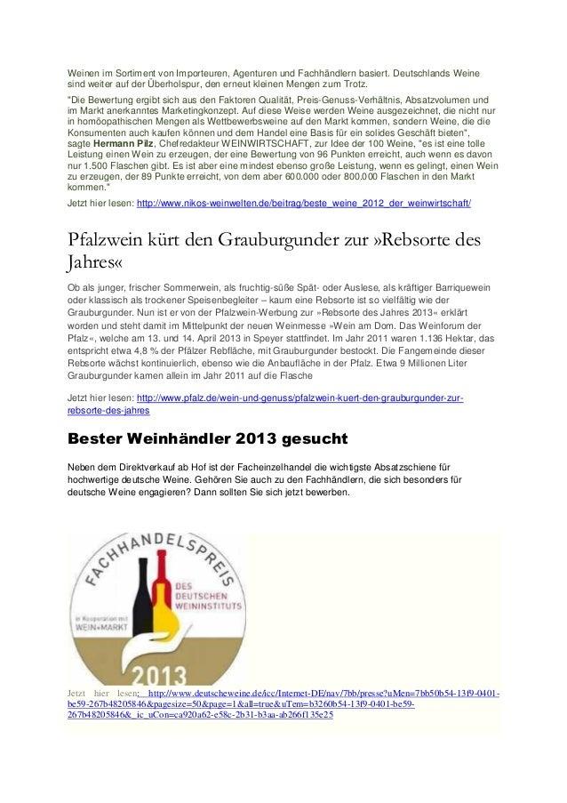 Weinen im Sortiment von Importeuren, Agenturen und Fachhändlern basiert. Deutschlands Weinesind weiter auf der Überholspur...