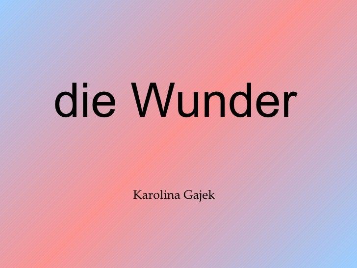 die Wunder   Karolina Gajek
