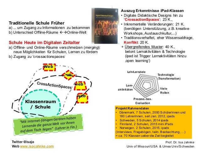 Prof. Dr. Isa Jahnke Univ of Missouri/USA & Umea Univ/Schweden Klassenraum / Schule Web web web web Schule Heute im Digita...