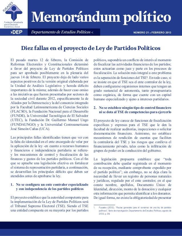 NÚMERO 21 ! FEBRERO 2013       Diez fallas en el proyecto de Ley de Partidos PolíticosEl pasado martes 12 de febrero, la C...