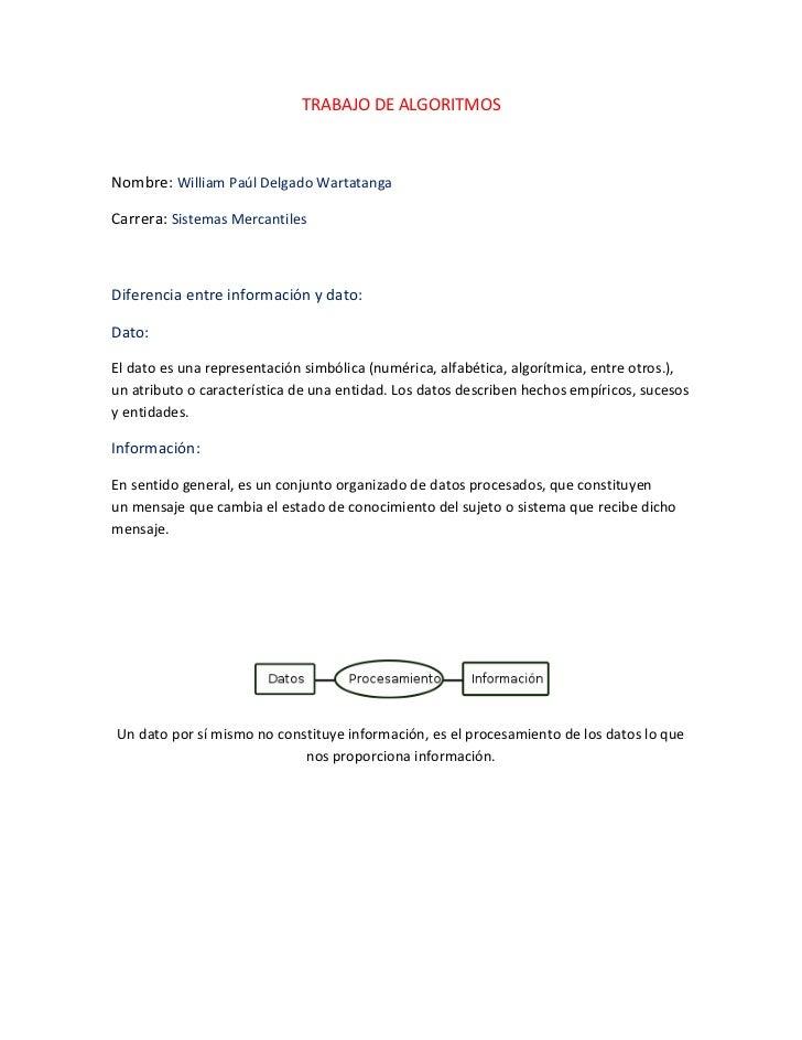 TRABAJO DE ALGORITMOSNombre: William Paúl Delgado WartatangaCarrera: Sistemas MercantilesDiferencia entre información y da...