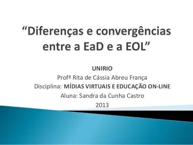 UNIRIO         Profª Rita de Cássia Abreu FrançaDisciplina: MÍDIAS VIRTUAIS E EDUCAÇÃO ON-LINE          Aluna: Sandra da C...