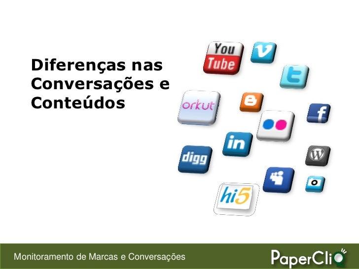 Diferenças nas    Conversações e    Conteúdos     Monitoramento de Marcas e Conversações