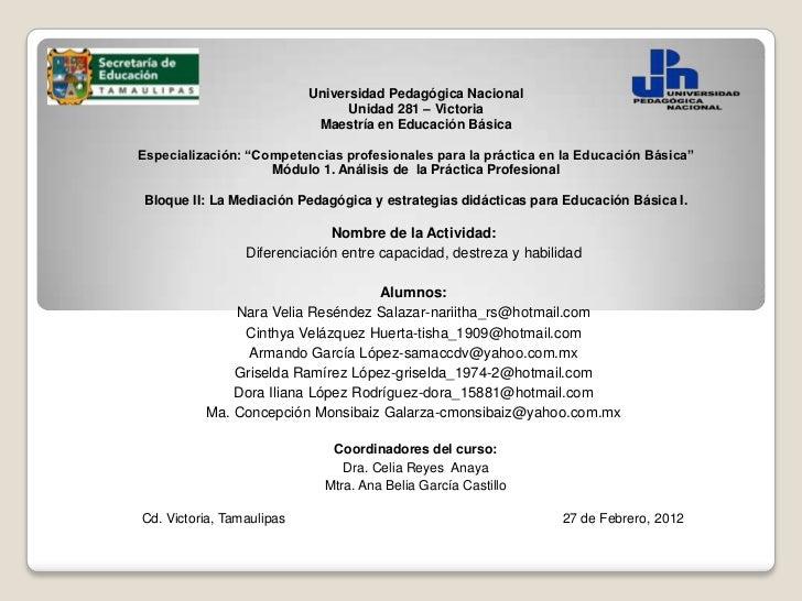 Universidad Pedagógica Nacional                                 Unidad 281 – Victoria                            Maestría ...