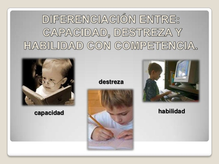 Diferenciación entre capacidad, destreza y habilidad de competencia. Slide 2