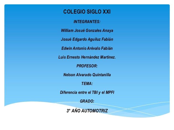 COLEGIO SIGLO XXI        INTEGRANTES: William Josué Gonzales Anaya Josué Edgardo Aguiluz Fabián Edwin Antonio Arévalo Fabi...