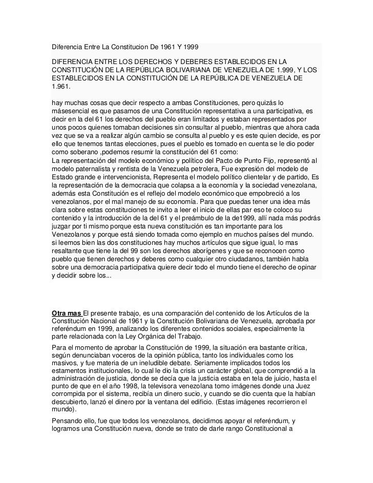 Diferencia Entre La Constitucion De 1961 Y 1999DIFERENCIA ENTRE LOS DERECHOS Y DEBERES ESTABLECIDOS EN LACONSTITUCIÓN DE L...