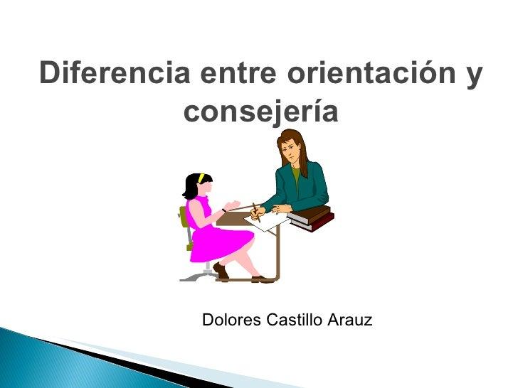Diferencia entre orientación y consejería Dolores Castillo Arauz