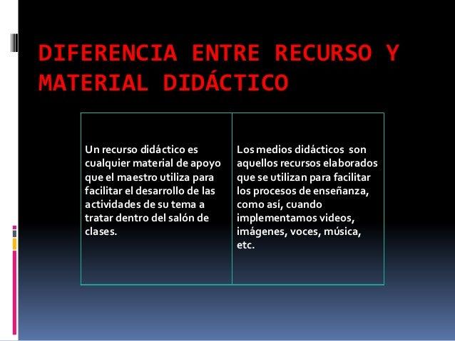 DIFERENCIA ENTRE RECURSO YMATERIAL DIDÁCTICO   Un recurso didáctico es          Los medios didácticos son   cualquier mate...