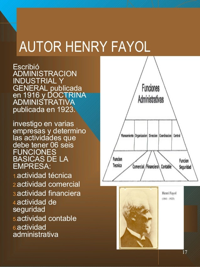 henri fayol personal background Henri fayol (29 july 1841 – 19 november 1925) was a french mining engineer,  mining  1 biography 2 work 21 mining engineering 22 fayolism 221  functions of management 222 principles of management 3 publications 31  books.