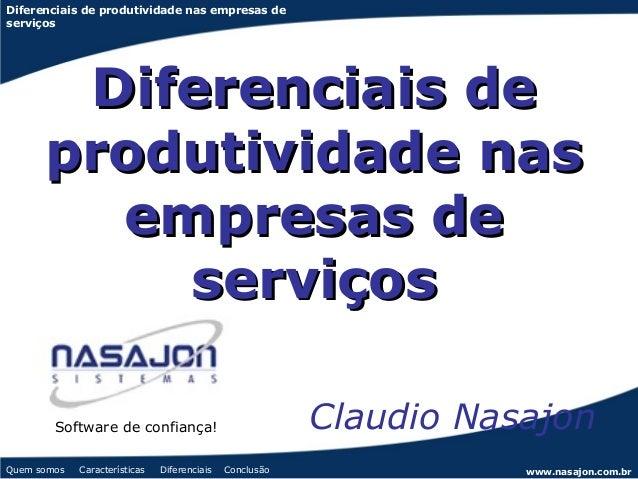 Diferenciais de produtividade nas empresas deserviços       Diferenciais de      produtividade nas        empresas de     ...