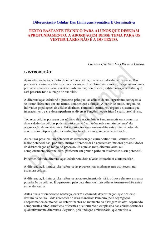 Diferenciação Celular Das Linhagens Somática E Germinativa  TEXTO BASTANTE TÉCNICO PARA ALUNOS QUE DESEJAM  APROFUNDAMENTO...