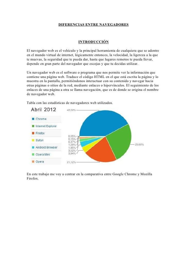 DIFERENCIAS ENTRE NAVEGADORES                                  INTRODUCCIÓNEl navegador web es el vehículo y la principal ...