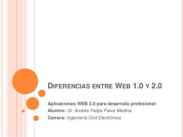 DIFERENCIAS ENTRE WEB 1.0 Y 2.0Aplicaciones WEB 2.0 para desarrollo profesionalAlumno: Sr. Andrés Felipe Paiva MedinaCarre...