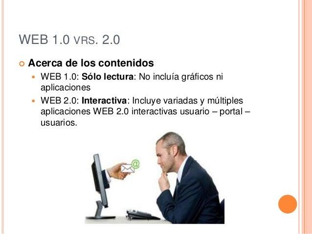 WEB 1.0 VRS. 2.0 Acerca de los contenidos WEB 1.0: Sólo lectura: No incluía gráficos niaplicaciones WEB 2.0: Interactiv...