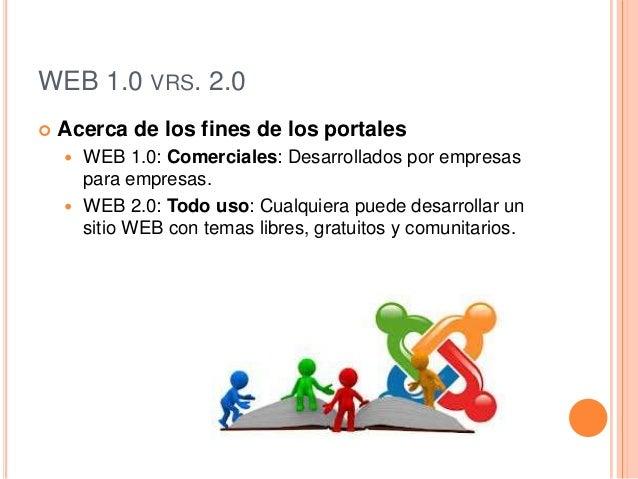 WEB 1.0 VRS. 2.0 Acerca de los fines de los portales WEB 1.0: Comerciales: Desarrollados por empresaspara empresas. WEB...