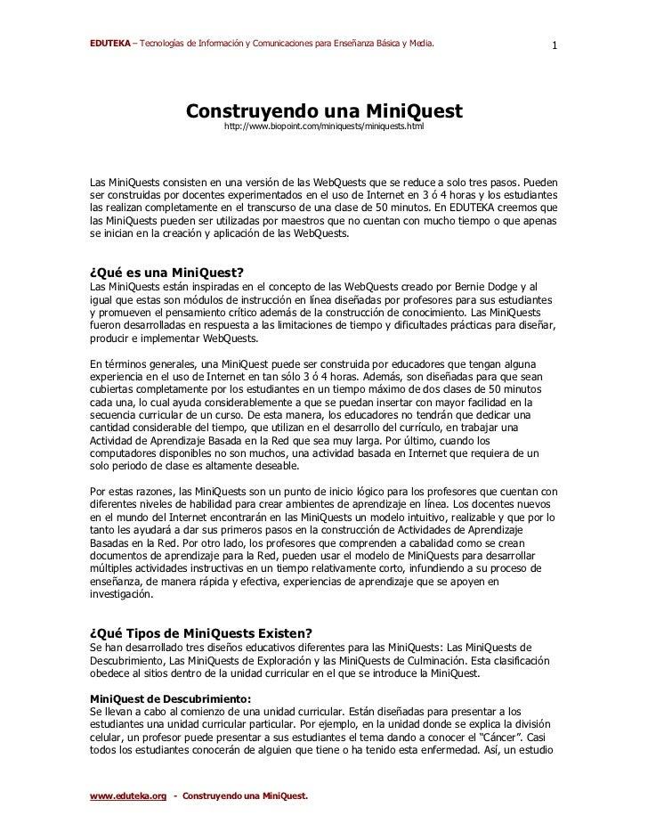 EDUTEKA – Tecnologías de Información y Comunicaciones para Enseñanza Básica y Media.                1                     ...