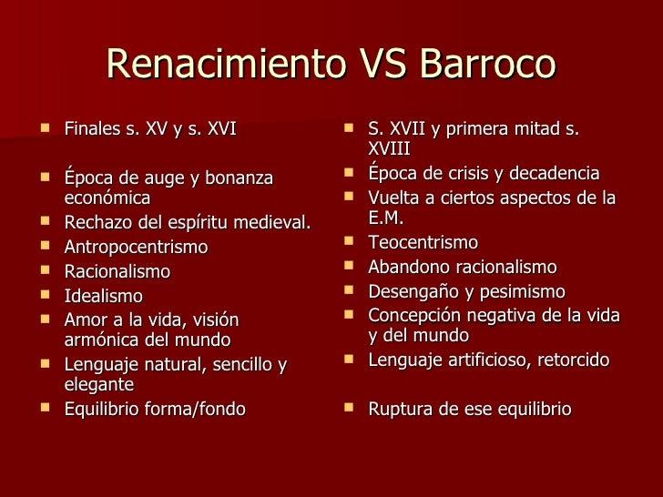 Resultado de imagen de diferencias renacimiento y barroco