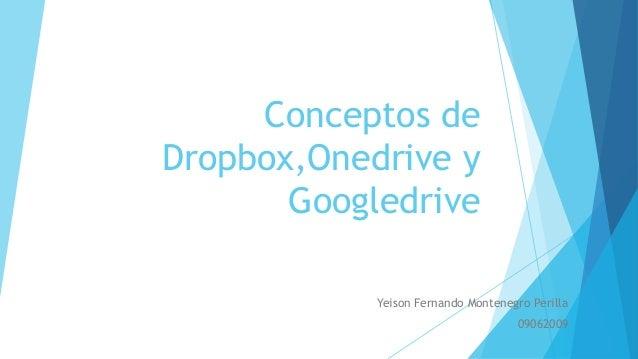 Conceptos de Dropbox,Onedrive y Googledrive Yeison Fernando Montenegro Perilla 09062009