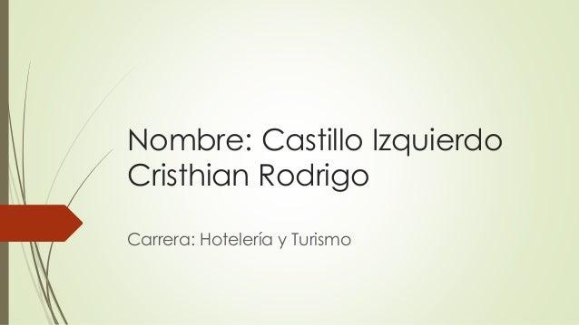 Nombre: Castillo Izquierdo Cristhian Rodrigo Carrera: Hotelería y Turismo