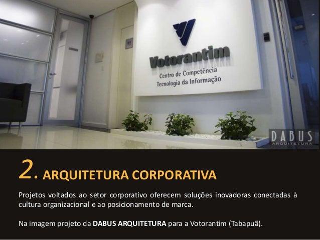 2. ARQUITETURA CORPORATIVA  Projetos voltados ao setor corporativo oferecem soluções inovadoras conectadas à  cultura orga...