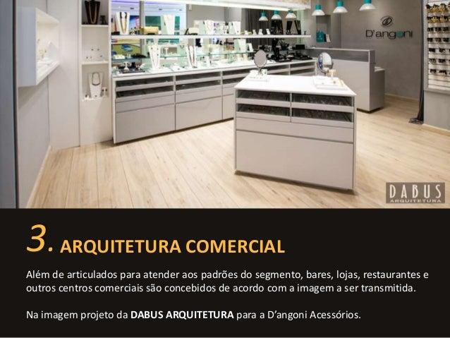 3. ARQUITETURA COMERCIAL  Além de articulados para atender aos padrões do segmento, bares, lojas, restaurantes e  outros c...