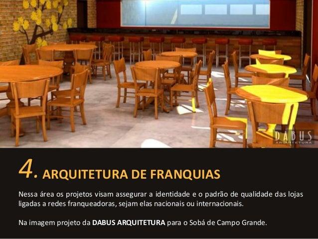 4. ARQUITETURA DE FRANQUIAS  Nessa área os projetos visam assegurar a identidade e o padrão de qualidade das lojas  ligada...