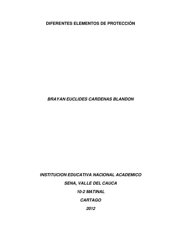 DIFERENTES ELEMENTOS DE PROTECCIÓN  BRAYAN EUCLIDES CARDENAS BLANDONINSTITUCION EDUCATIVA NACIONAL ACADEMICO         SENA,...